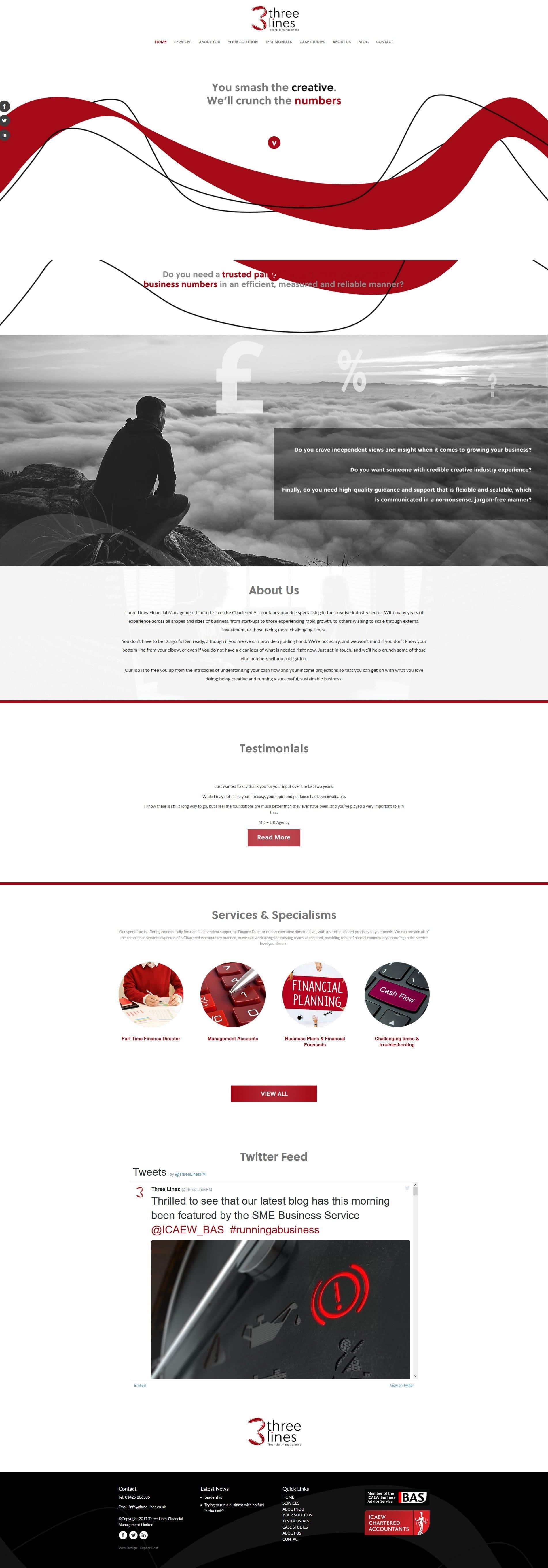Web Design Three Lines Financial Management Bournemouth